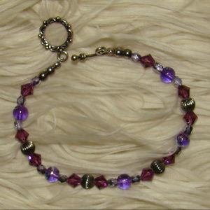 Silver & Amethyst & Translucent Bead Bracelet